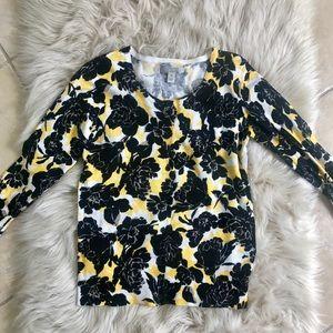 Sweaters - Dana Buchanan 3/4 sleeve patterned cardigan